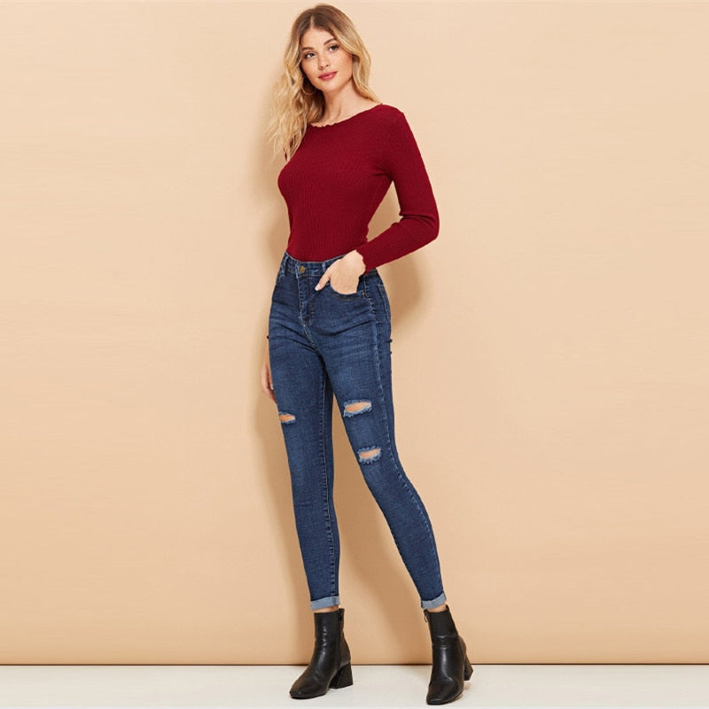 Ripped Roll-Up Casual Denim Pants Jeans - Laveliqus
