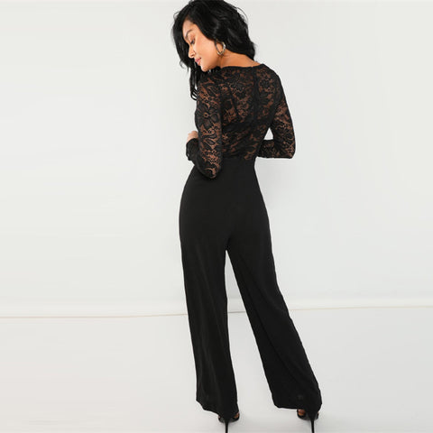 Black Solid Deep V Neck Sheer Long Sleeve Lace Women Jumpsuit LAVELIQ