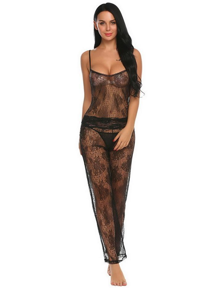 Sheer Set Top Long Pants Lace Pajamas Lingerie - Laveliqus