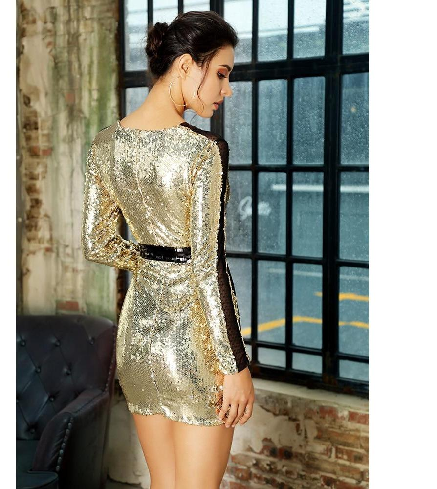 Black and Gold Sequin Long Sleeve Mini Dress - Laveliqus