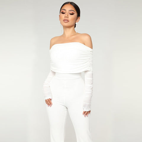 White Off Shoulder Jumpsuit Long Sleeve