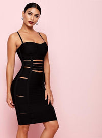 Black Cut Out Bodycon Bandage Dress - Laveliqus