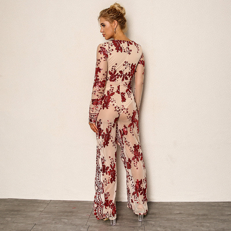 New V-neck Sequin Floral Sexy Romper