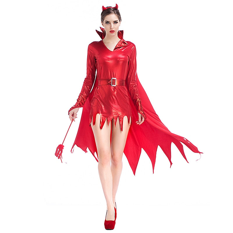 Adult Women Halloween Red Devil Costume Ox Vampire Sparkle Bodysuit Robe Dress Sexy Wicca Cosplay Clothes For Girls XL Plus Size