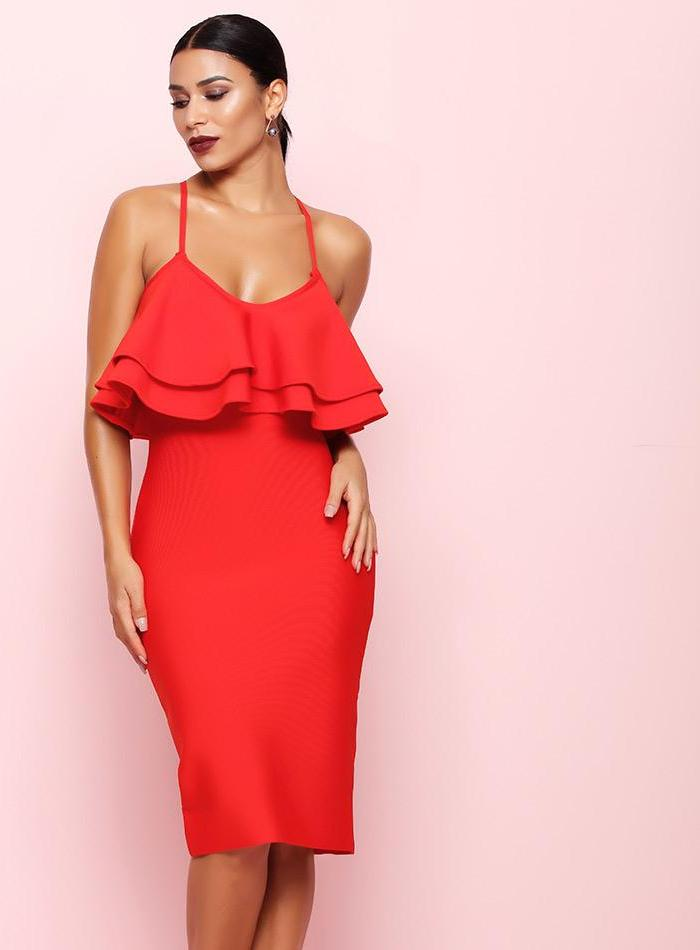 Red Vestidos Women Sexy Bodycon Club Party Bandage Dress LAVELIQ