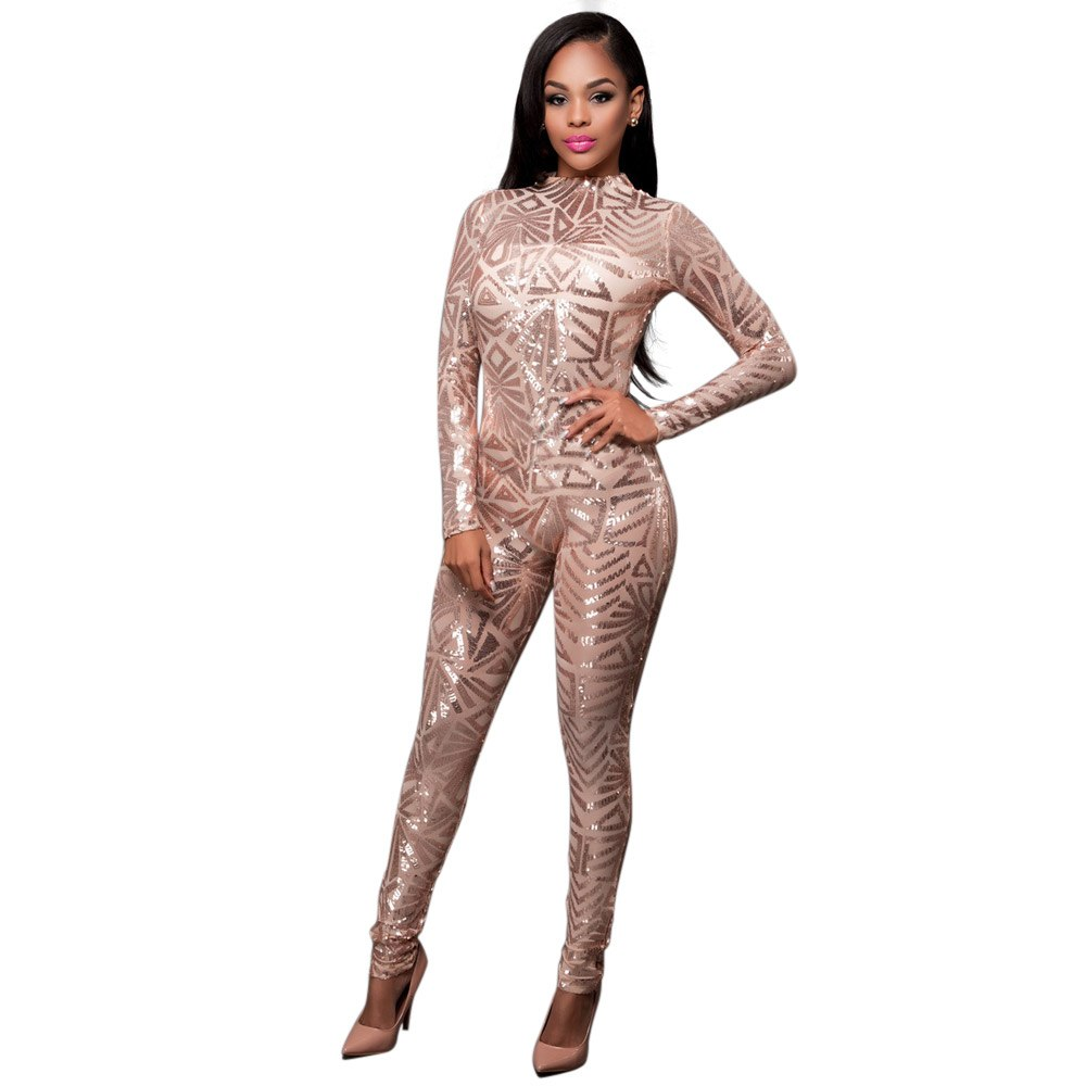 Sexy Champagne Long Sleeve Long Pants Sequined Bodycon Jumpsuit - Laveliqus