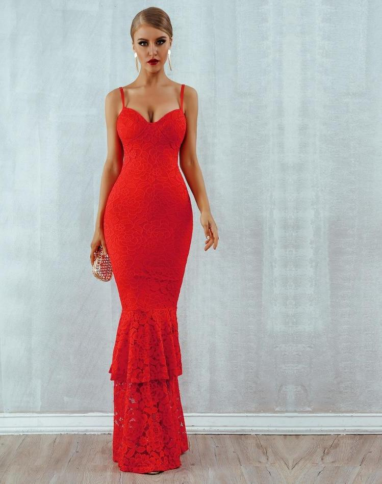 New Arrivals Red Lace Spaghetti Strap Sleeveless Maxi Dress