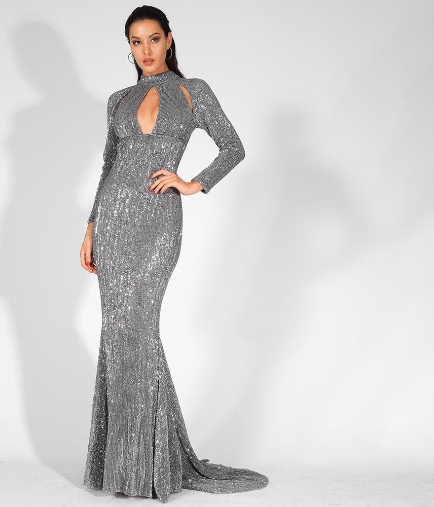 Long Sleeve High Neck Cutout Sequin Elastic Stretch Maxi Dress Long Gown - Laveliqus