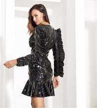 Black Ruffles V Neck Long Sleeves Mini Dress - Laveliqus