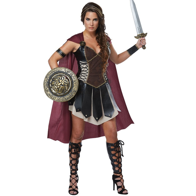 Adult Women Roman Princess  Xena Gladiator Costume Halloween Carnival Party Spartan 300 Warriors Soldier Cosplay Outfit