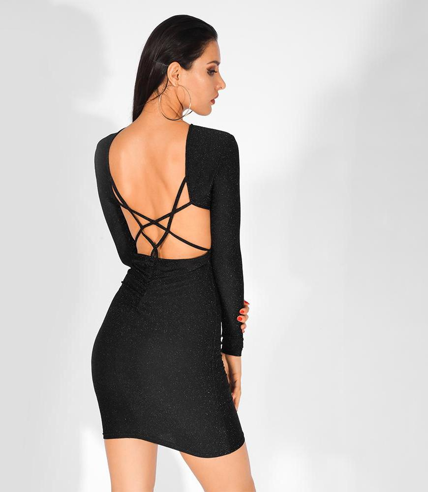 5b8632cd22 Sexy Open Criss Cross Back Cut Out Round Neck Long Sleeves Shiny Fabric  Mini Dress Black
