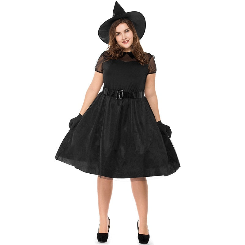 New Arrival Plus Size Halloween Black Witch Temperament Witch Night Ghost Game Halloween Game Suit Dress M-3XL