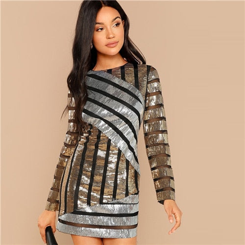 Striped Embroidery Textured Sequin Sexy Dress Women 2018 Autumn Long Sleeve Party Dress Streetwear Elegant Mini Dresses