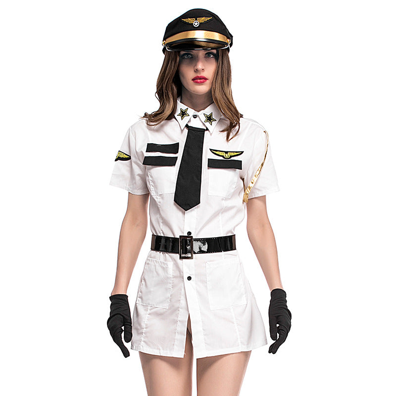 Black White Women Pilot Costumes Sexy Female Make Up Party Dress Fancy Uniform Stewardess Cosplay Suit Halloween Costumes