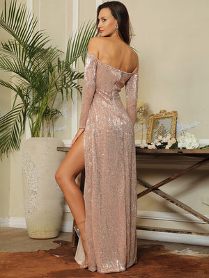 Deep V-Neck Cut Out Sequins Long-Sleeved Maxi Dress