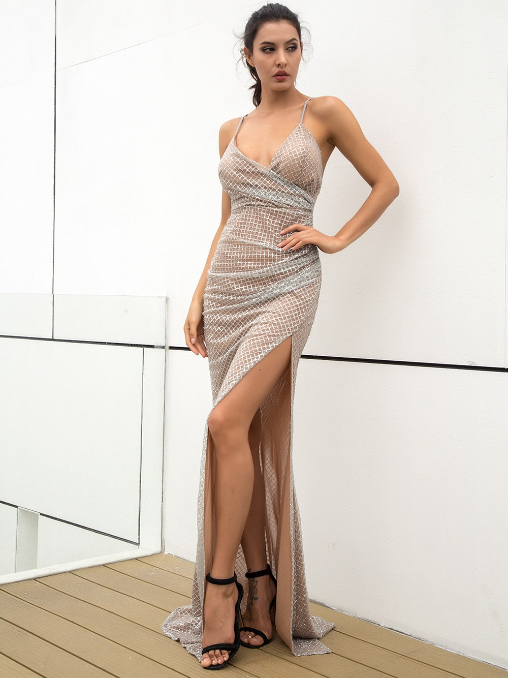 Sexy Deep V-Neck Open Back Pleated Element Plaid Shiny Material Maxi Dress SILVER