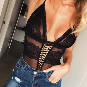 Black V neck lace sheer bodysuit straps sexy jumpsuits romper summer hot teddies catsuit women bodycon bodysuit