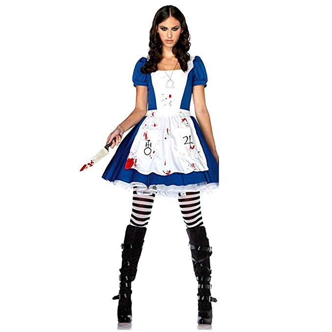 Game Alice Madness Returns Cosplay Costume Halloween Carnival Uniforms Blue Maid Dress Restaurant Servant Outfit Custom Made