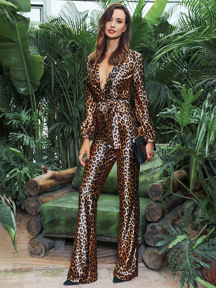 V-Neck High Waist Leopard Print Elastic Fabric Jumpsuit