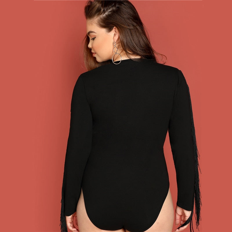 plus size long sleeve black fringe sleeve elegant v neck bodysuit