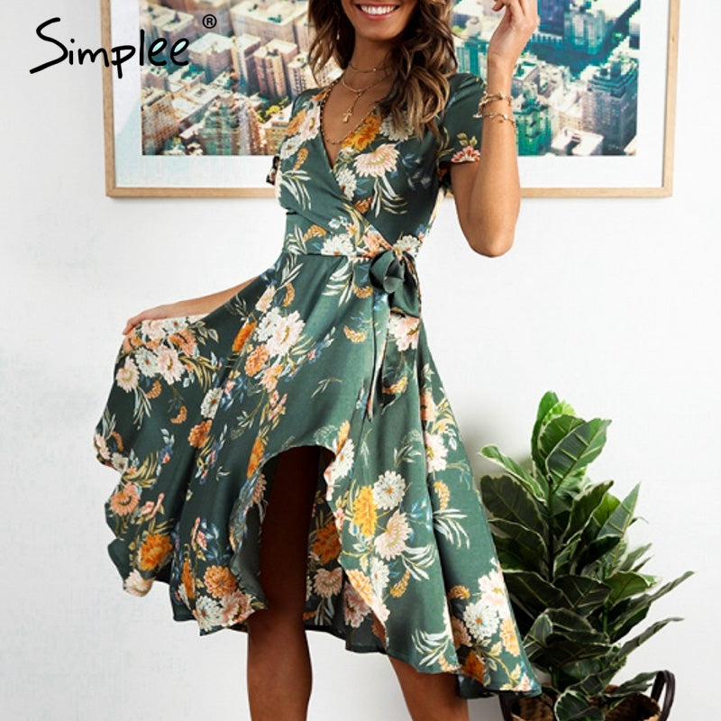 Elegant floral print satin women dress Wrap v neck high waist summer dresses Sexy bow tie green casual female vestidos