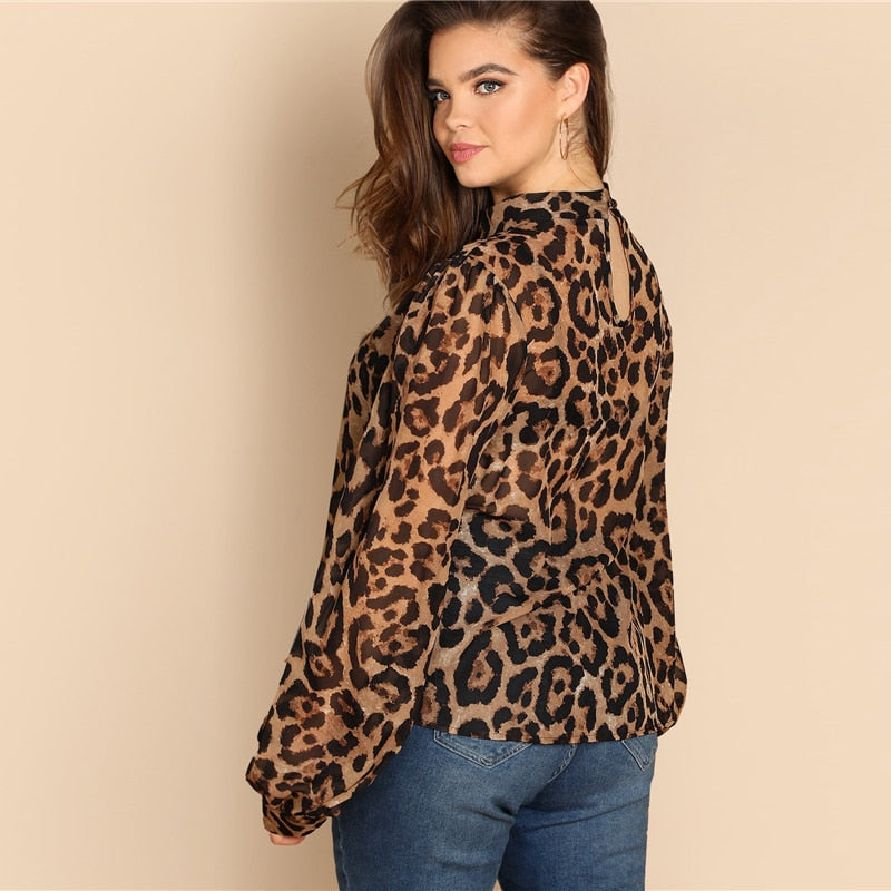 plus size choker long sleeve leopard print blouse