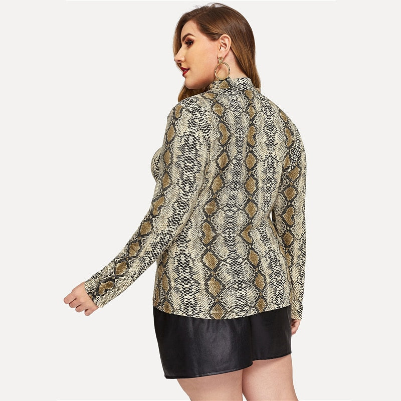Plus Size High Neck Snake Print Long Sleeve Blouse