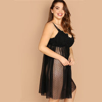 Plus Size High Waist Mesh Cami Night Dress Pajama Lingerie