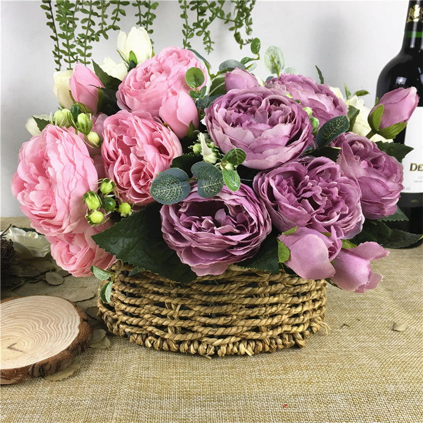 1 Bunch Artificial Silk Rose Peony Flowers 5 Heads bouquet flores fall home decor diy wedding decoration fake Flower wreath