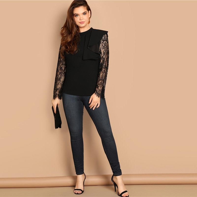 Plus Size Black Mock-neck Eyelash Vintage Lace Blouse Shirt Women Clothes