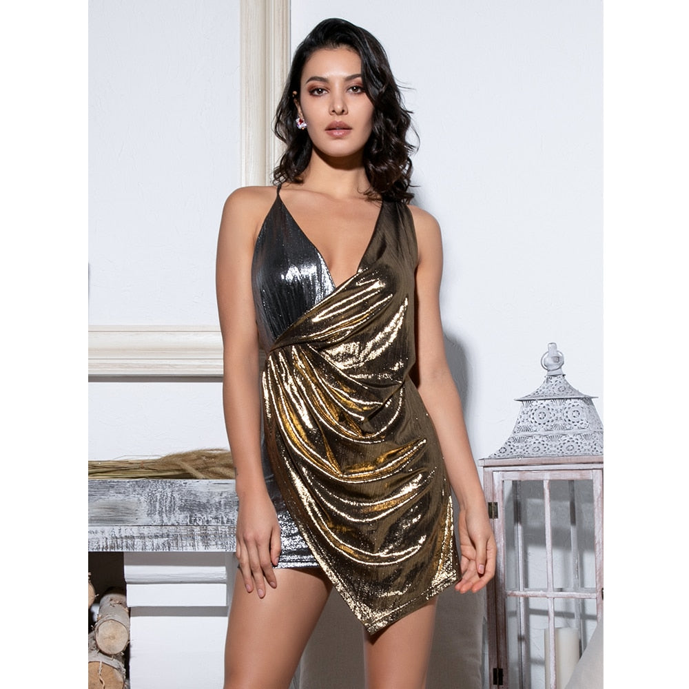 1716002d2a Sexy Silver Gold Stitching Deep V-Neck Open Back Flash Fabric Cross Bodycon  Mini
