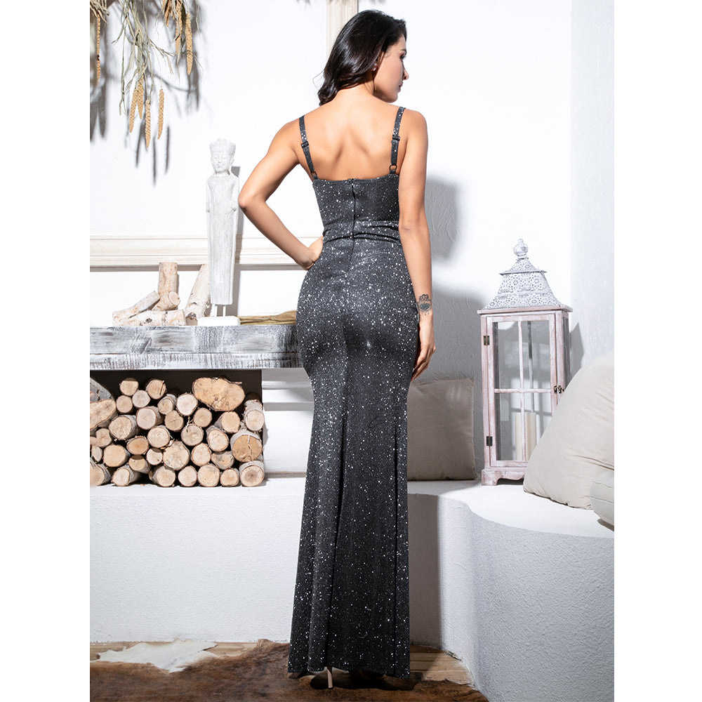 Black Tube Top Cut Out Streamer Glitter Fabric Maxi Dress Evening Gown