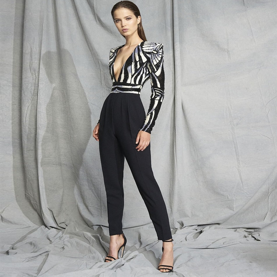 Newest Celebrity Party Women Jumpsuit Long Sleeve V-Neck Sequined Sexy Night Out Black Full Length Jumpsuit Women Wholesale