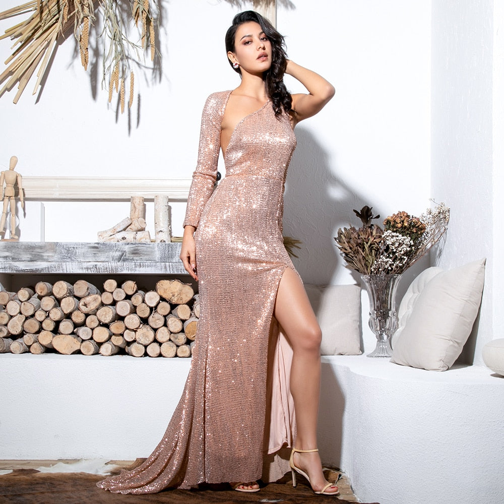 Sexy  Open Back Single Sleeve Slim Fit Elastic Sequined Fabric Maxi Dress Gown