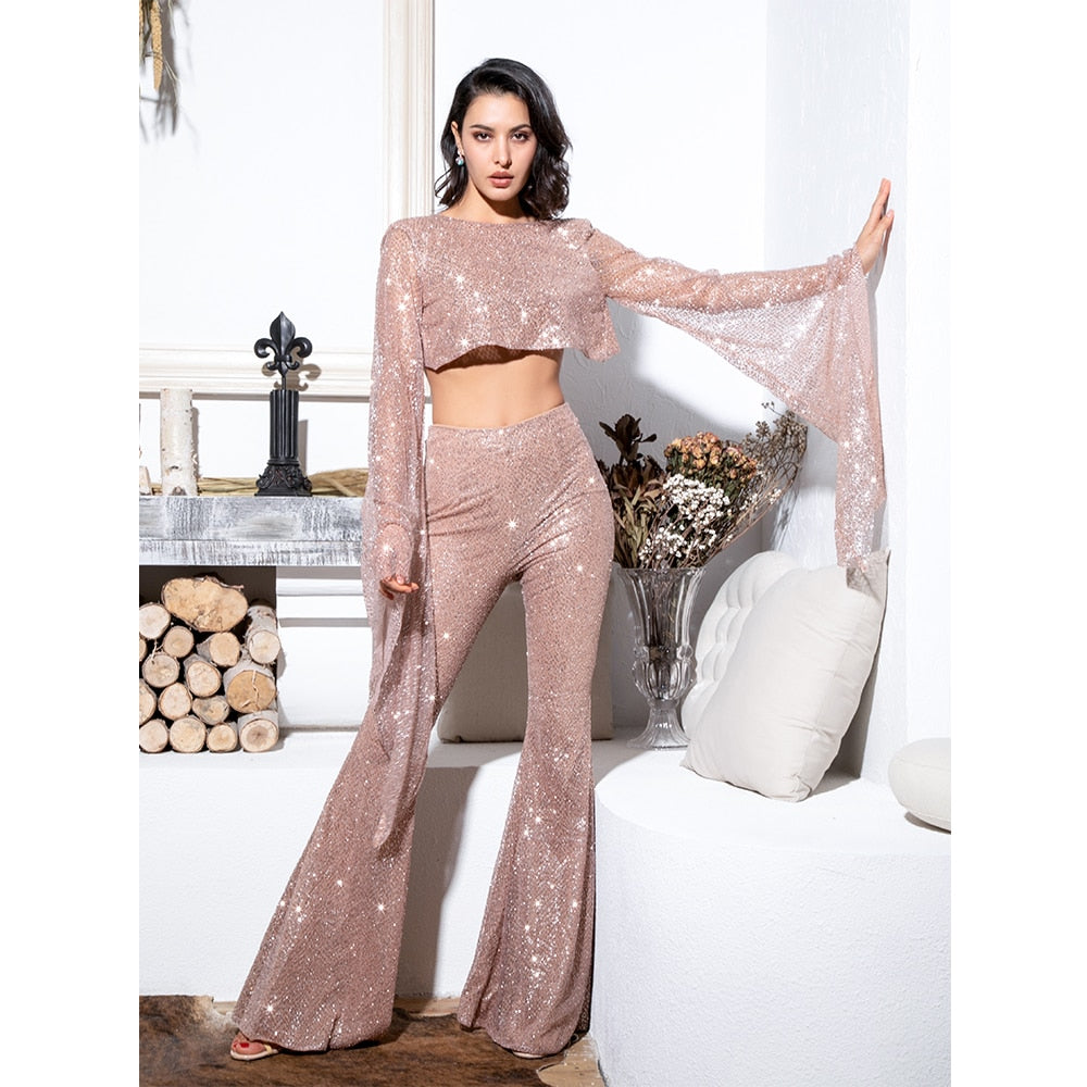 Rose Gold Pants Set Jumpsuit Open Back Bead Material Sparkly Long Bell Sleeve
