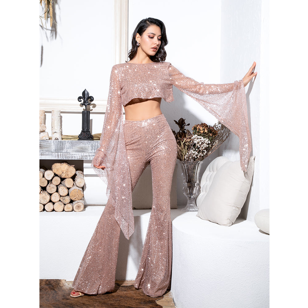 a2183f1b02d Rose Gold Pants Set Jumpsuit Open Back Bead Material Sparkly Long Bell  Sleeve