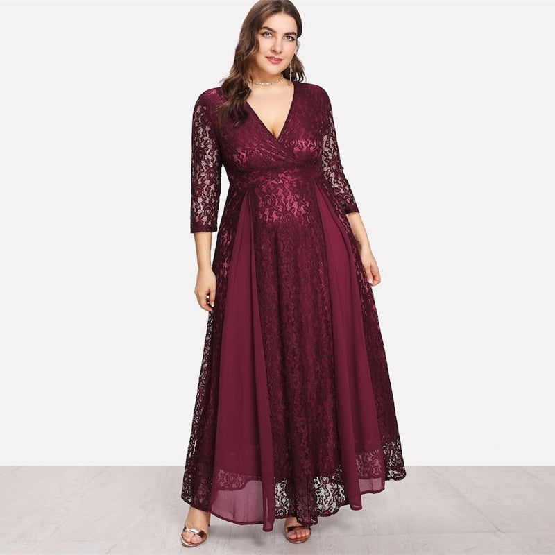 plus size v neck lace long sleeve maxi dress evening gown