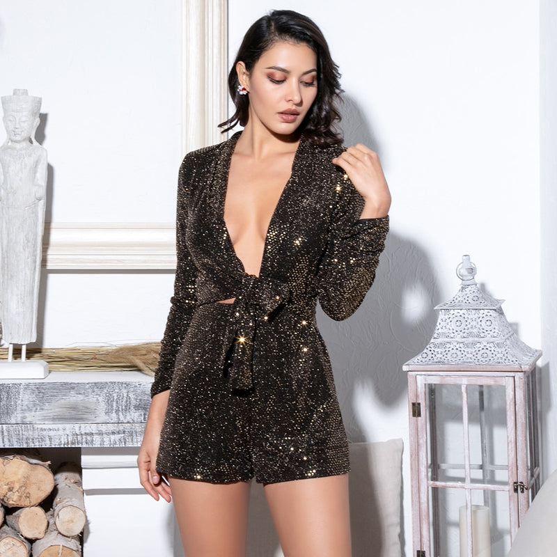 Gold Deep V-Neck Cut Out Glitter Sequins Elastic Material Long Sleeve Playsuit