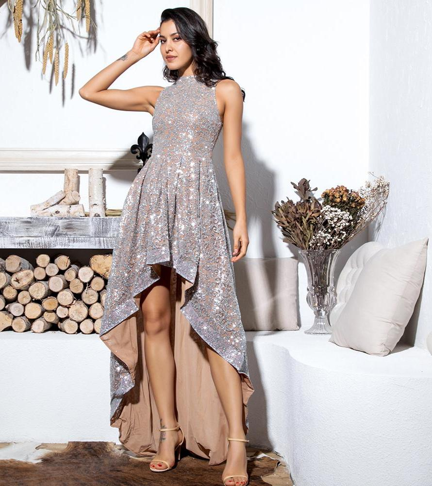 Silver Stand Collar Flower Rattan Pattern Shiny Material High Neck Shorter Front Longer Back Maxi Dress