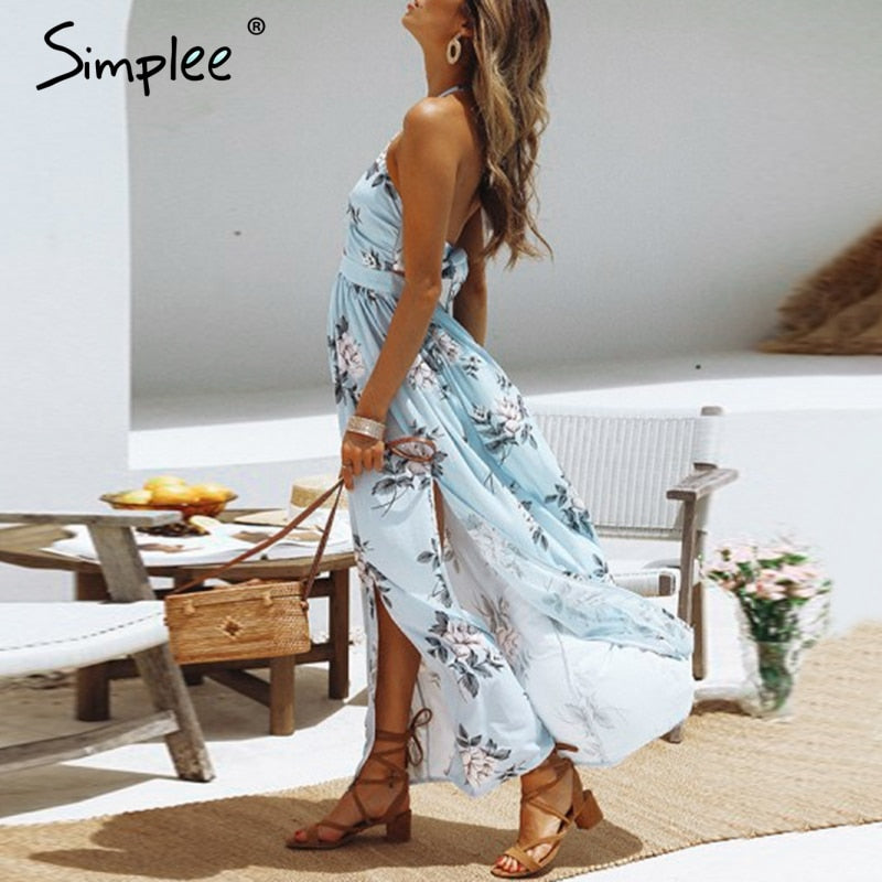 Sexy floral print women long dress Summer halter v-neck chiffon split dresses Vintage black maxi beach sundresses