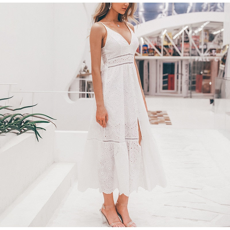 Embroidery cotton white summer dress women Sexy v neck spaghetti strap long dress High waist button casual dress female