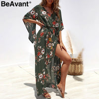 Green floral print boho dress women summer Sash split chiffon maxi dresses asymmetrical Holiday beach long dress female