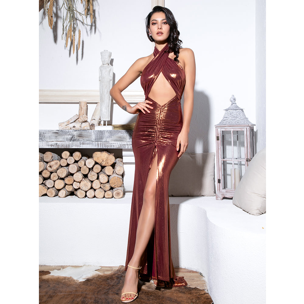 Brown Cross Straps Cut Out Drawstring Decoration Glitter Print Material Maxi Dress