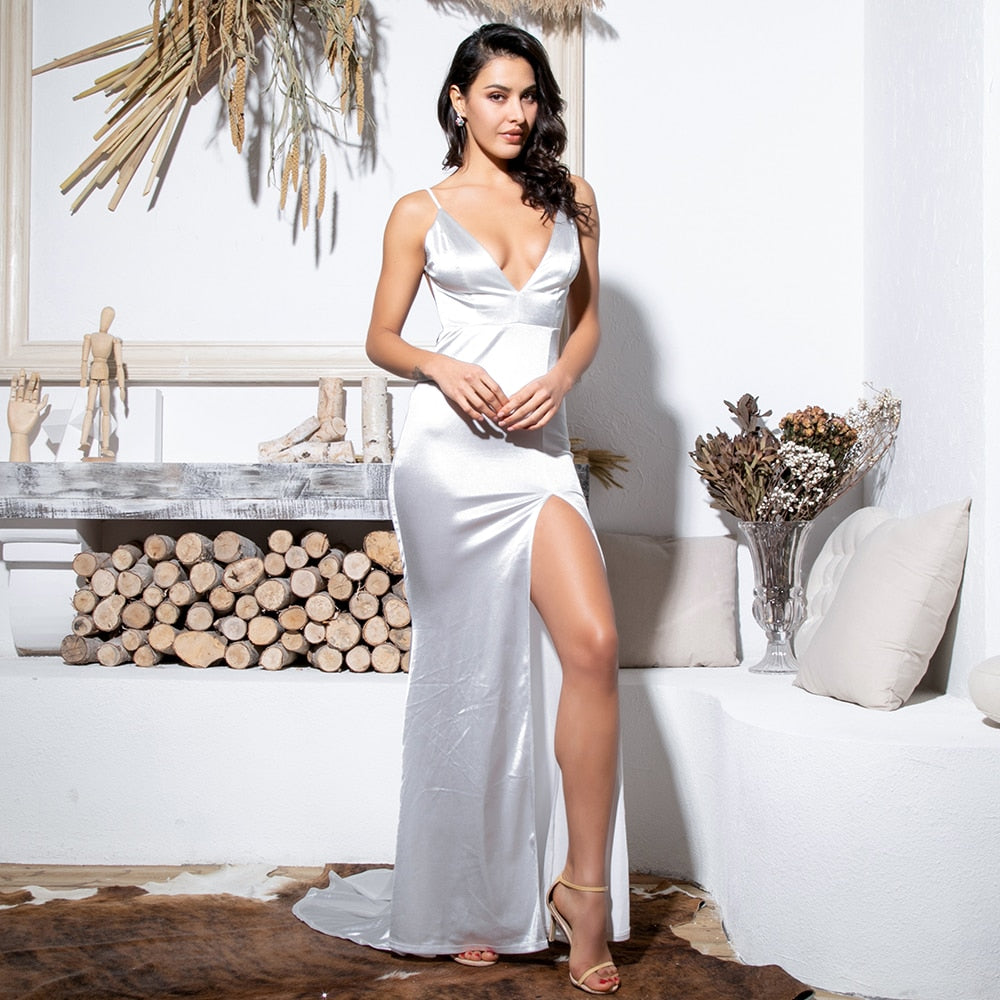 Sexy Deep V-Neck White Cut Out Sling Open Back Bodycon Maxi Dress