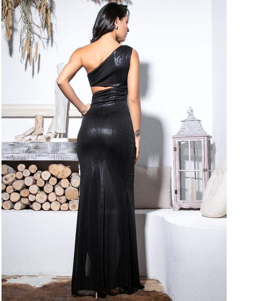 Sexy Black Cut Out One Shoulder Maxi Dress