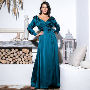 Green Deep V-Neck Card Shoulder Cut Out Long Sleeve Maxi Dress