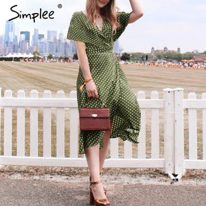 Vintage dots print satin women summer dress Elegant v neck wrap sashes dresses Sexy female party long dress