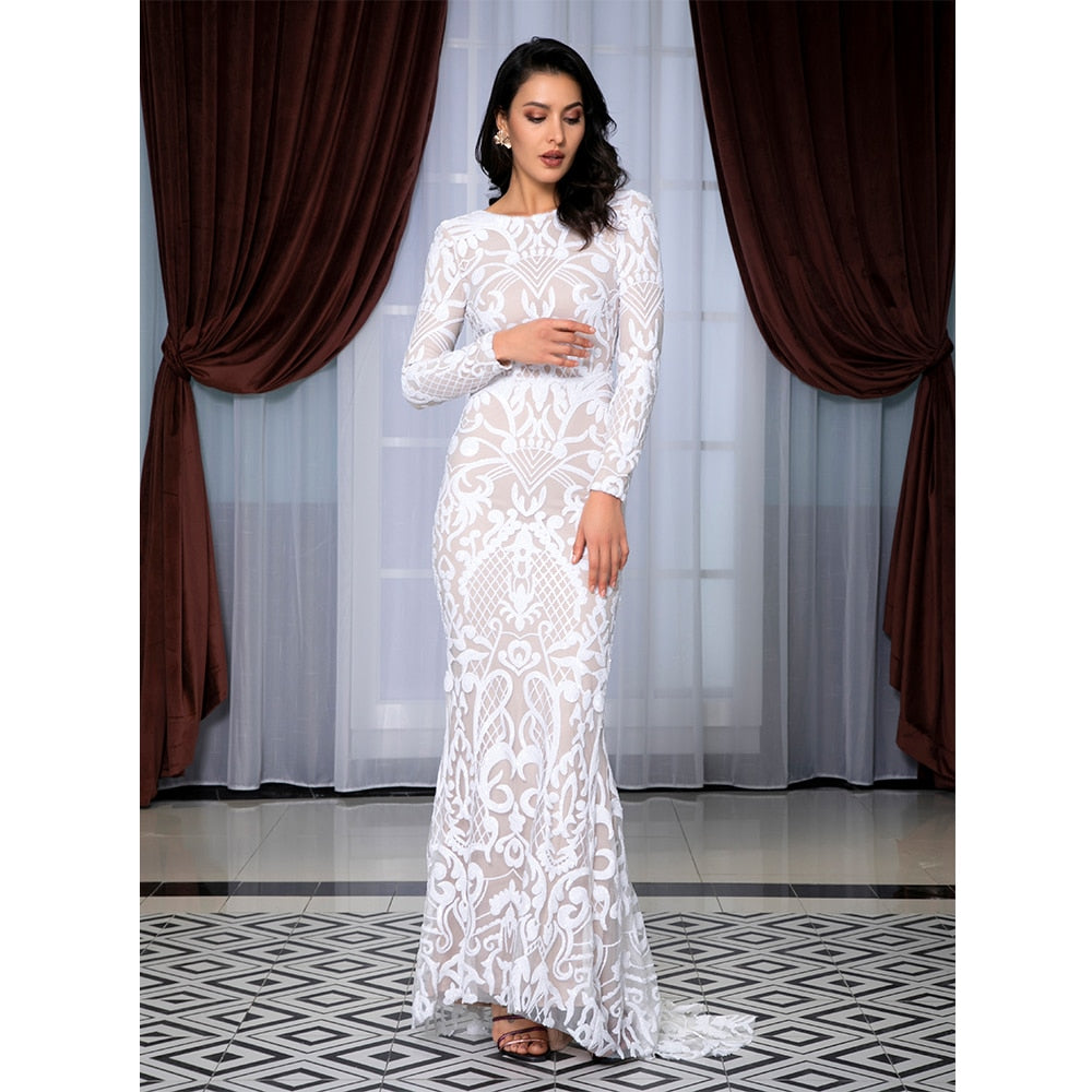 Long Sleeve Open Back White Lace Elegant Maxi Dress Enveing Gown