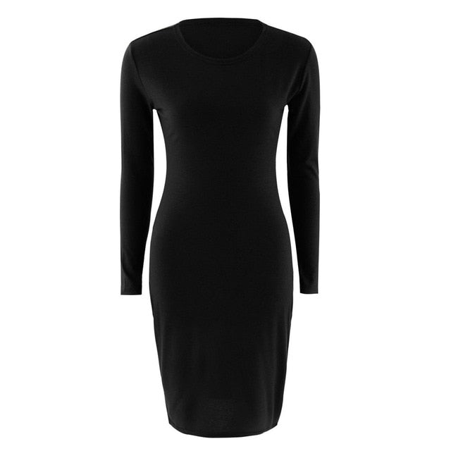 New Fashion Autumn Spring Women Long Sleeve Dress Bodycon Sexy Slim Fit O-neck Casual Dresses WML99