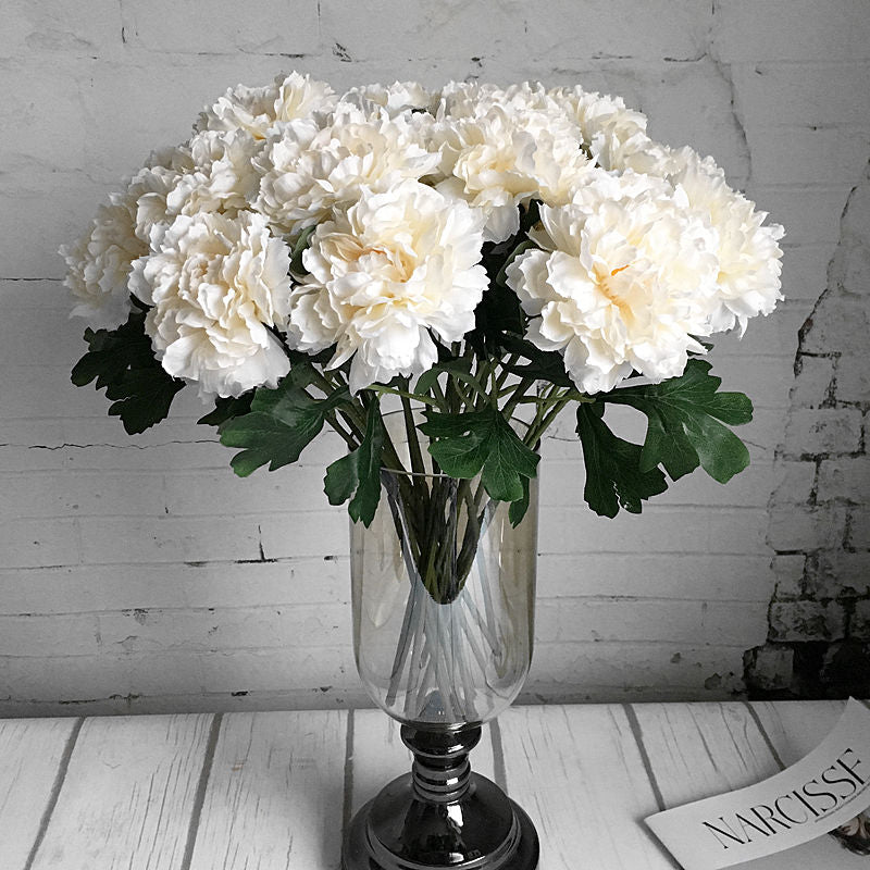 Single branch Rose peony Artificial flowers silk white peonies for spring Home wedding Decoration fake flowers wholesale flores